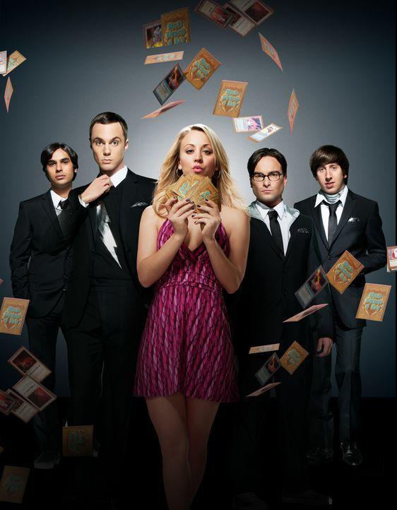 (5. Staffel) - Eine ganz besondere Truppe: Penny (Kaley Cuoco, M.), Sheldon (Jim Parsons, 2.v.l.), Rajesh (Kunal Nayyar, l.), Leonard (Johnny Galeck... - Bildquelle: Warner Bros. Television