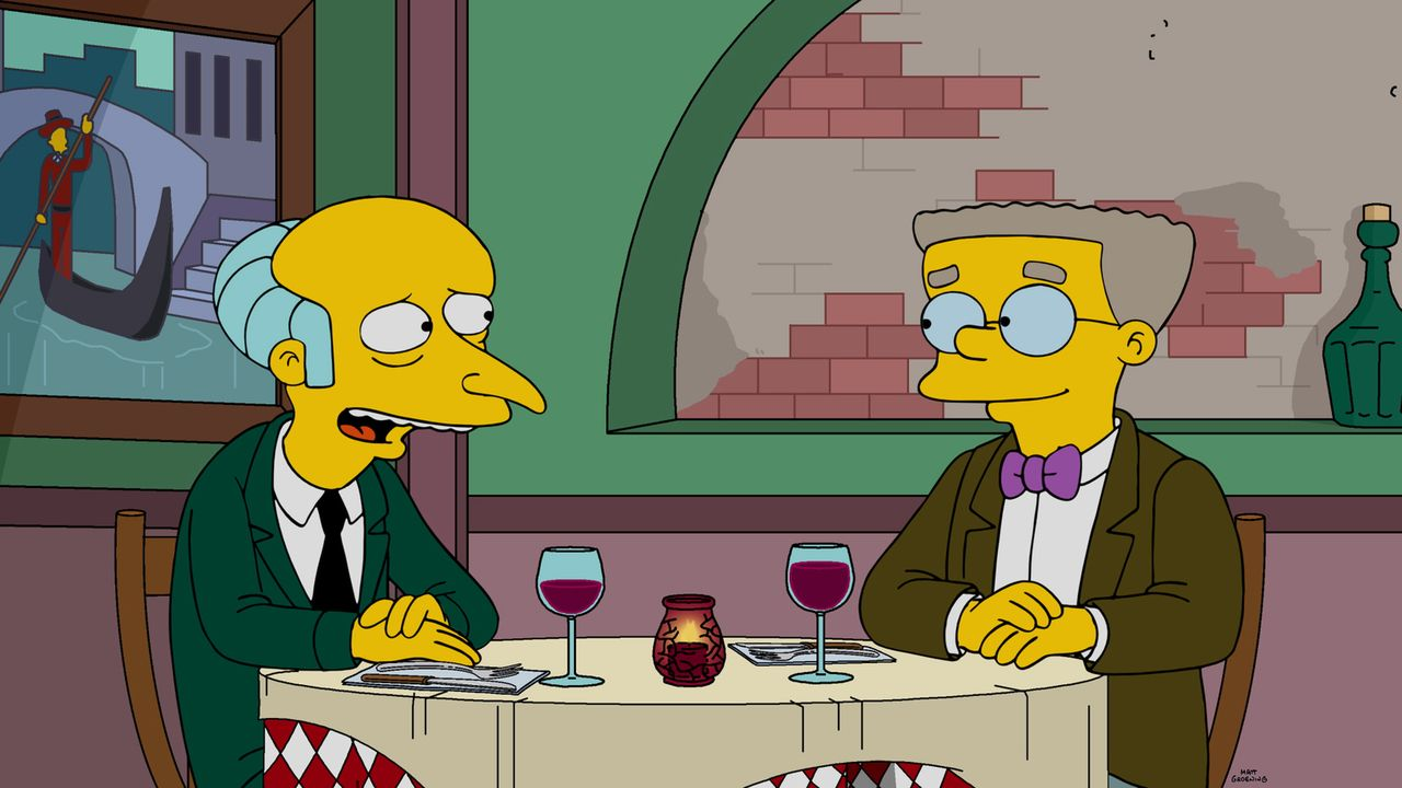 Smithers (r.) ist mal wieder frustriert, weil er bei Burns (l.) total abgeblitzt ist. Da er deshalb Homer, Carl und Lenny besonders schlecht behande... - Bildquelle: 2015 Fox and its related entities.  All rights reserved.