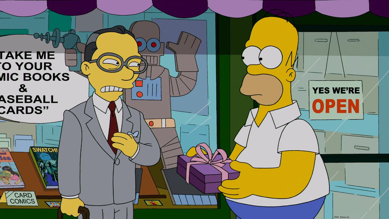 Homer Simpson (r.) versucht, Kumikos Vater (l.) mit Geschenken zu bestechen, damit er seine Tochter nicht zurück nach Japan holt - so möchte er sein... - Bildquelle: 2013 Twentieth Century Fox Film Corporation. All rights reserved.