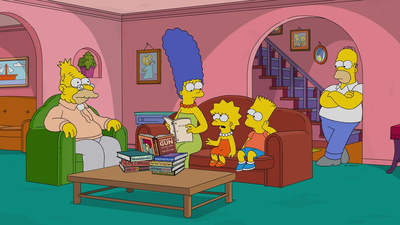 (v.l.n.r.) Grampa; Marge; Lisa; Bart; Homer - Bildquelle: 2018-2019 Fox and its related entities.  All rights reserved.