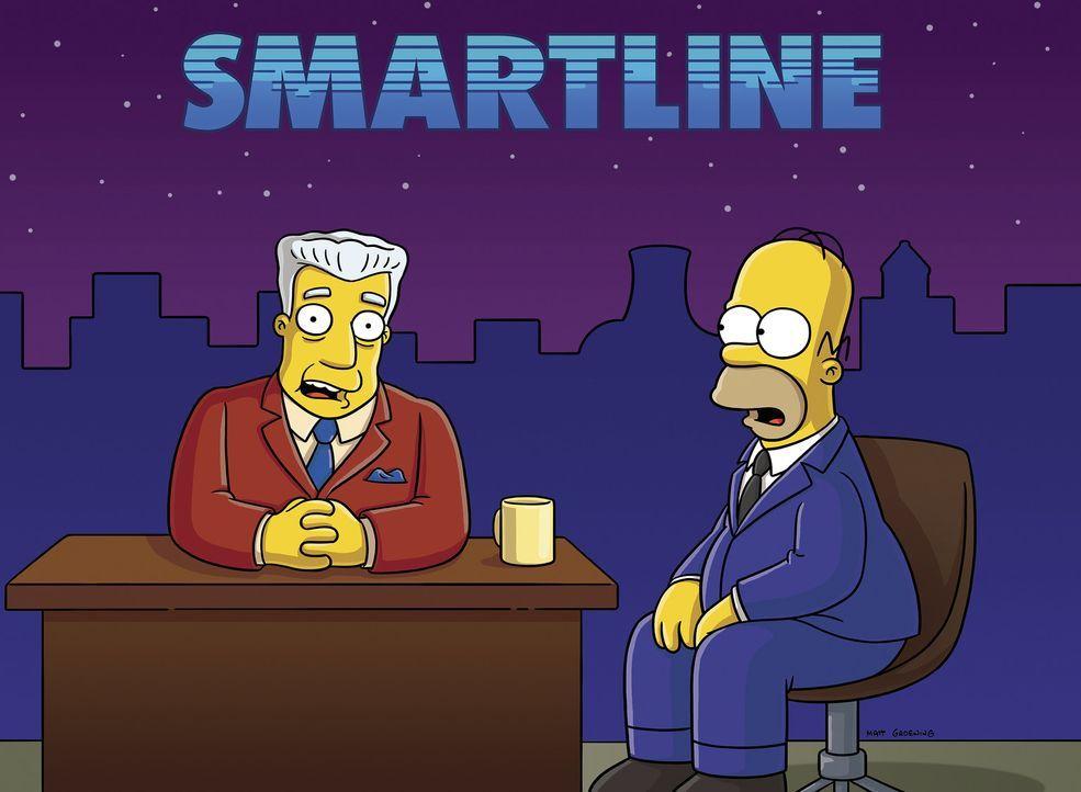 Nachrichtensprecher Kent Brockman (l.) wird zum Wetterfrosch degradiert nachdem Homer (r.) ihn in seiner Sendung dazu bringt live vor der Kamera zu... - Bildquelle: 2006-2007 Twentieth Century Fox Film Corporation.