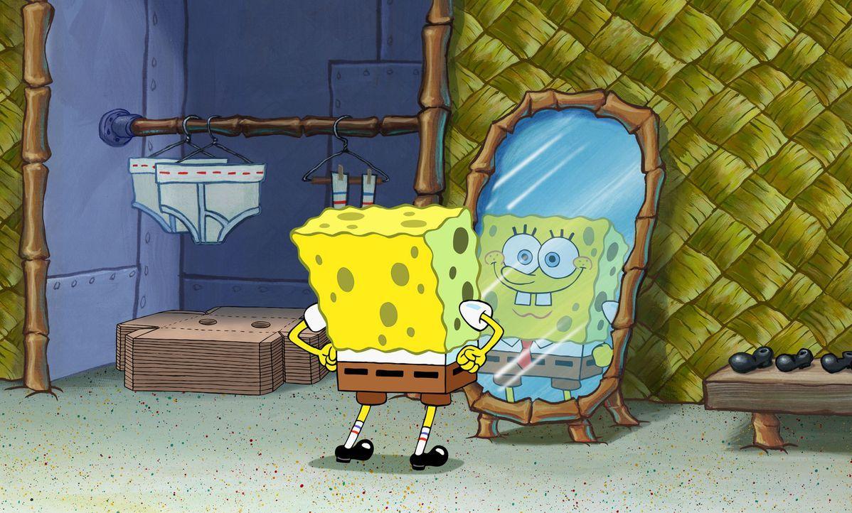 SpongeBob posiert schon einmal vor dem Spiegel, denn er erwartet die Beförderung zum Manager der Krossen Krabbe 2, einer Filiale von Mr. Krabs' Rest... - Bildquelle: Copyright   2004 PARAMOUNT PICTURES and VIACOM INTERNATIONAL INC. All Rights Reserved. NICKELODEON, SPONGEBOB SQUAREPANTS and all related titles, logo