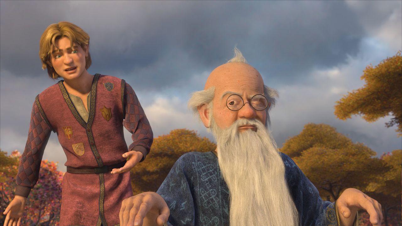 Arthur (l.) hat keine Lust, König zu werden. Ihn interessiert auch nicht, was Merlin (r.) dazu zu sagen hat ... - Bildquelle: TM &   2007 Dreamworks Animation LLC