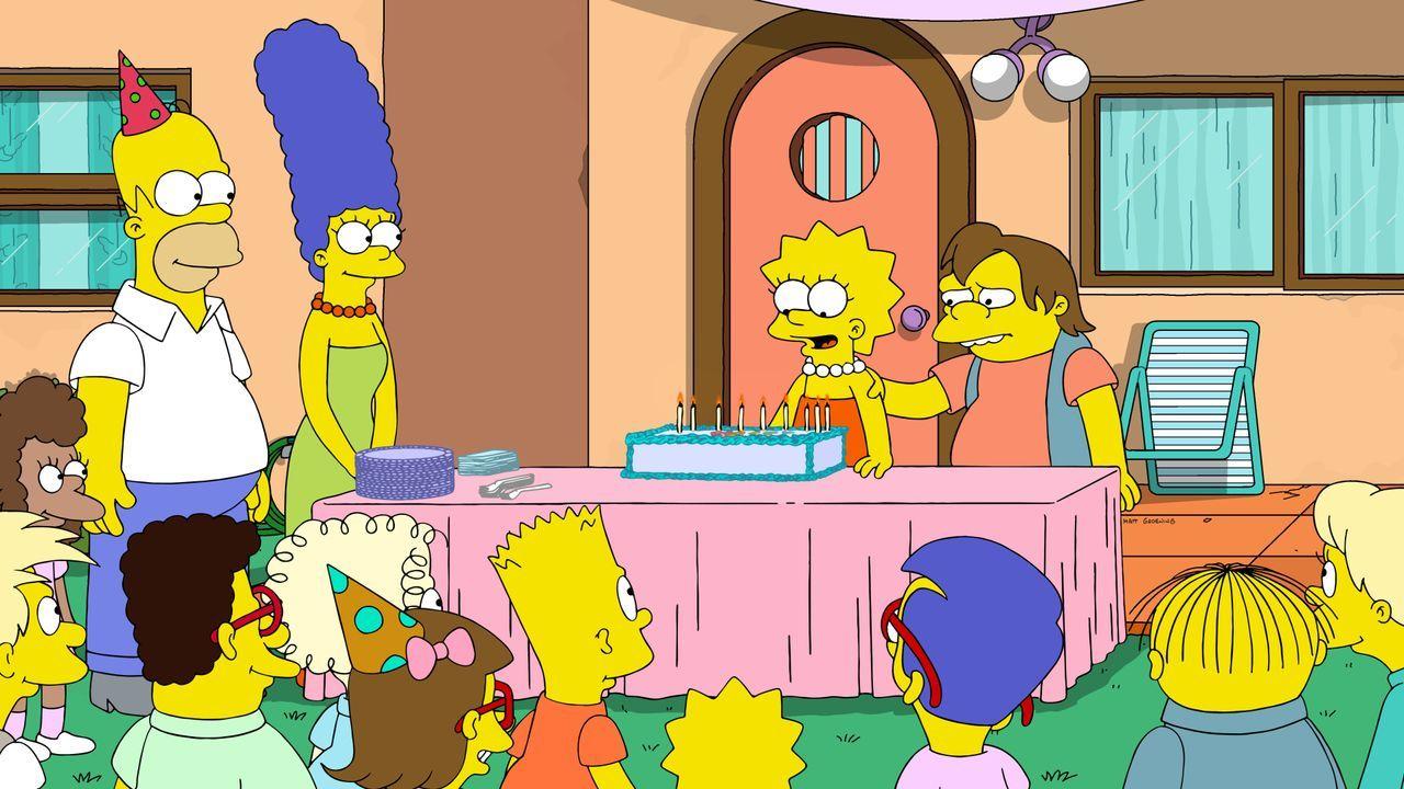 (oben v.l.n.r.) Homer; Marge; Lisa; Nelson - Bildquelle: 2020 by Twentieth Century Fox Film Corporation.