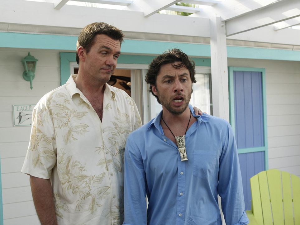 Während die Hochzeit vom Hausmeister (Neil Flynn, l.) bevorsteht, stellt sich bei J.D. (Zach Braff, r.) keine romantische Stimmung ein, da er für... - Bildquelle: Touchstone Television