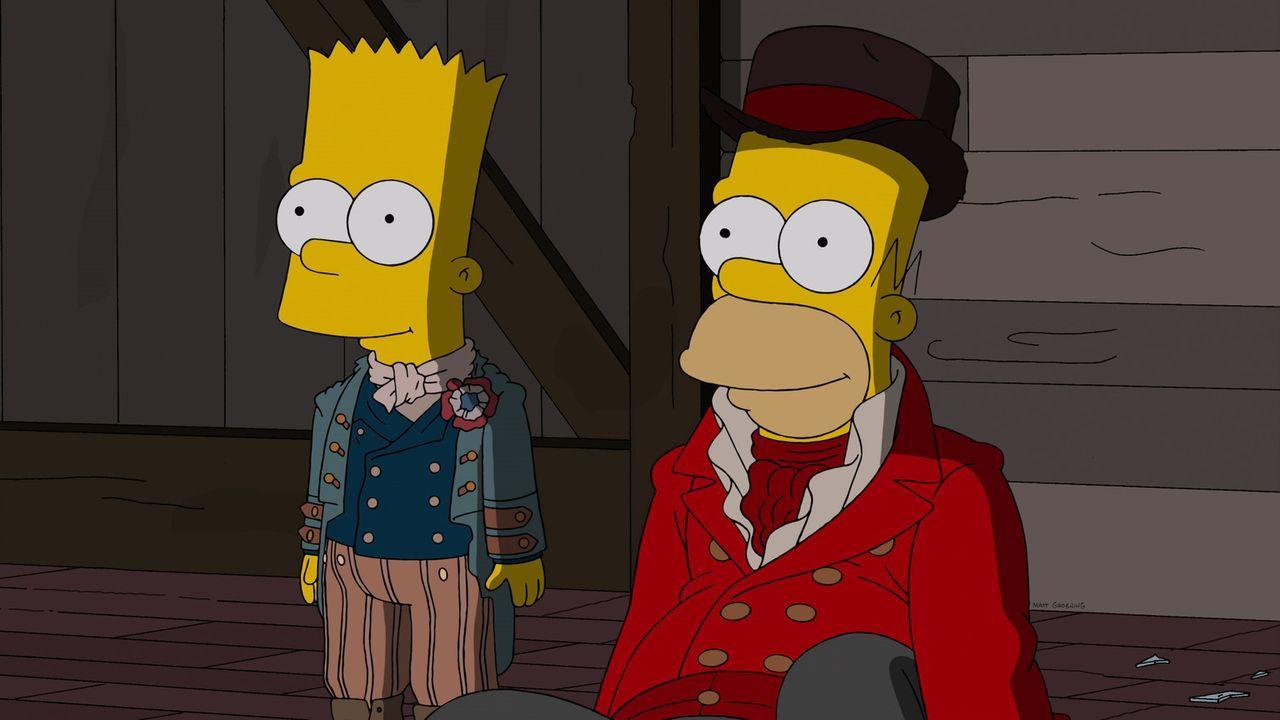 Als bekannt wird, dass Bart (l.) mit seinem Voodoo-Zauber bewirkt hat, dass seine Kunstlehrerin schwanger geworden ist, werden er und Homer (r.) von... - Bildquelle: 2013 Twentieth Century Fox Film Corporation. All rights reserved.