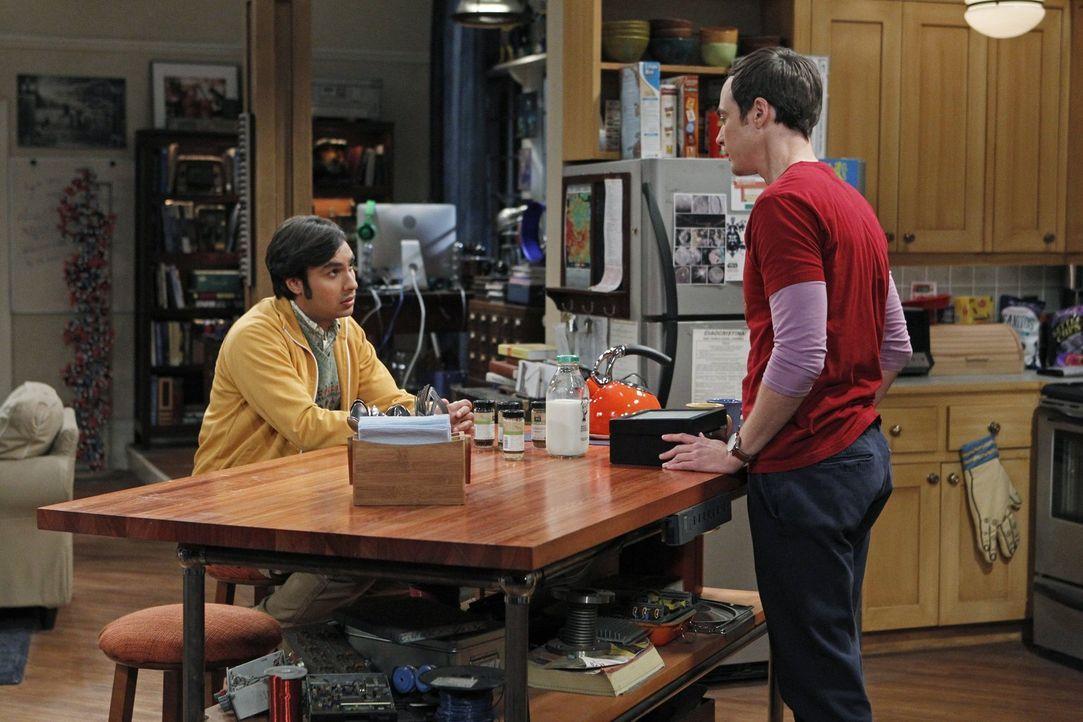 Während Howard und Bernadette Mrs. Wolowitz pflegen, bekommt Raj (Kunal Nayyar, l.) ganz besondere Beziehungstipps von Sheldon (Jim Parsons, r.) ... - Bildquelle: Warner Brothers