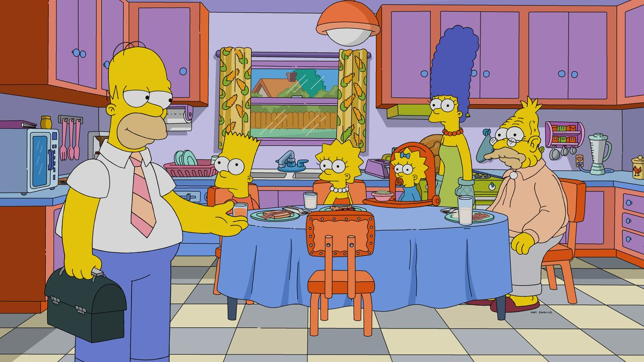 (v.l.n.r.) Homer; Bart; Lisa; Maggie; Marge; Grampa - Bildquelle: 2020 by Twentieth Century Fox Film Corporation.