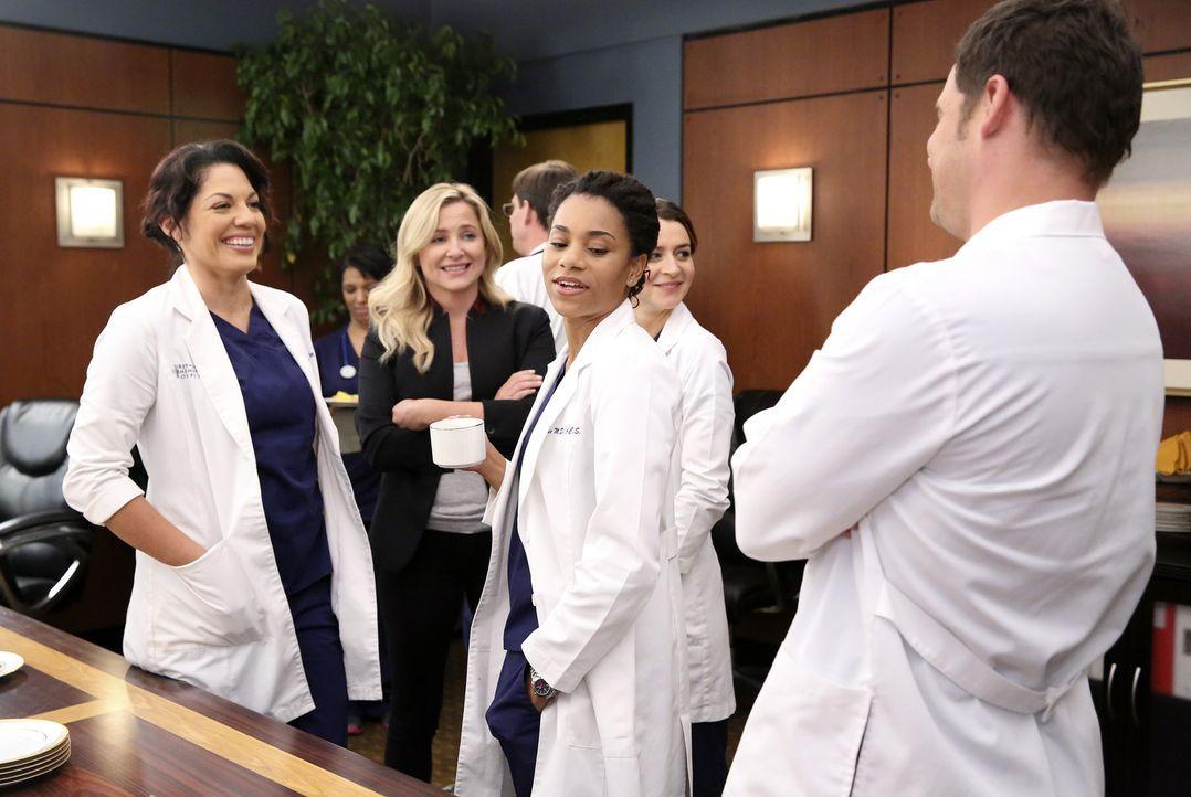 Wollen Bailey zu ihrem neuen Job gratulieren: Callie (Sara Ramirez, l.), Arizona (Jessica Capshaw, 2.v.l.), Amelia (Caterina Scorsone, 2.v.r.), Magg... - Bildquelle: ABC Studios