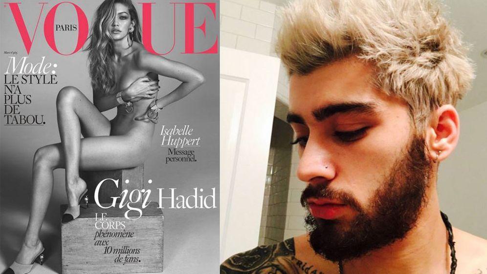 - Bildquelle: Twitter/zaynmalik/Vogue Cover/Instagram/gigihadid