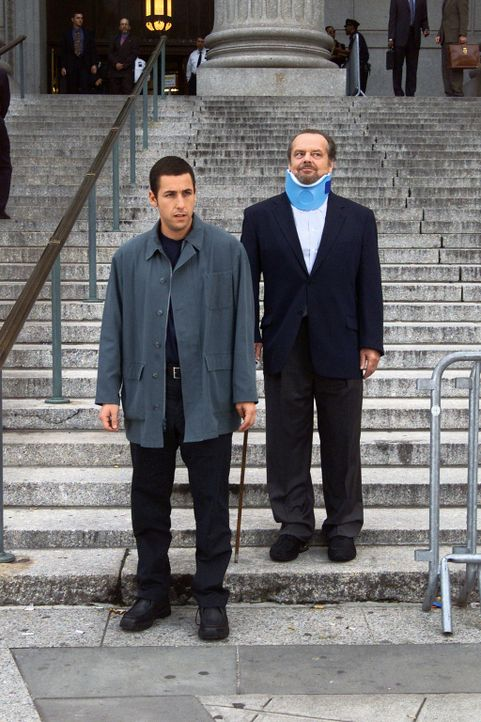 Dave (Adam Sandler, l.) wird zu 20 Therapiestunden bei dem Psychiater Buddy Rydell (Jack Nicholson, r.) verurteilt. Ein Fehler, denn Buddy treibt Da... - Bildquelle: 2003 Sony Pictures Television International. All Rights Reserved.