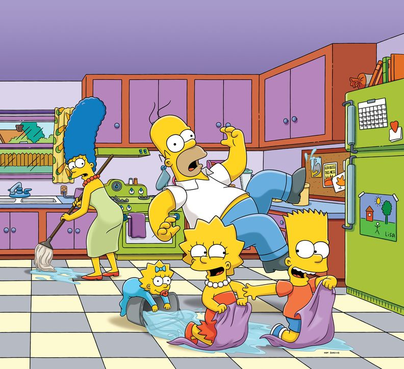(25. Staffel) - Die Simpsons sind eine nicht alltägliche Familie: Maggie (2.v.l.), Marge (l.), Lisa (2.v.r.), Homer (M.) und Bart (r.) ... - Bildquelle: 2014 Twentieth Century Fox Film Corporation. All rights reserved.