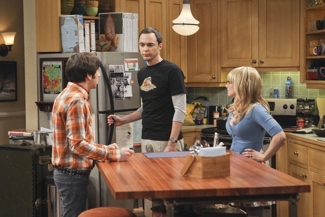 Ein Streit zwischen Sheldon (Jim Parsons, M.) und Amy überträgt sich auf Bernadette (Melissa Rauch, r.) und Howard (Simon Helberg, l.) ... - Bildquelle: Warner Bros. Television