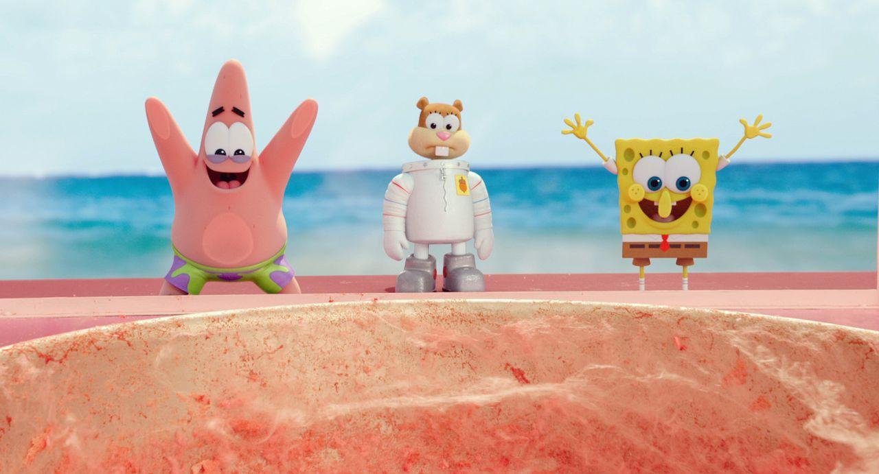 Um Bikini Bottom zu retten, müssen Patrick (l.), Sandy Cheeks (M.) und Spongebob (r.) ihre Unterwasserstadt verlassen und es mit dem fiesen Piraten... - Bildquelle: (2016) Paramount Pictures and Viacom International Inc. All Rights Reserved. SPONGEBOB SQUAREPANTS is the trademark of Viacom International Inc.