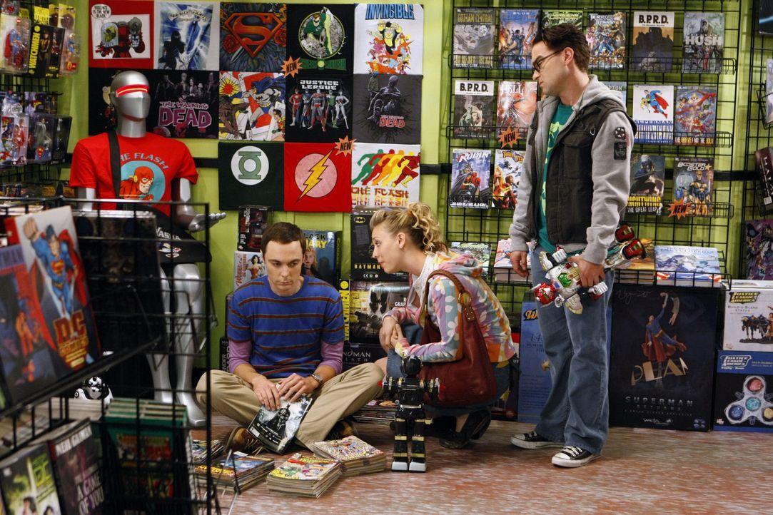 (v.l.n.r.) Sheldon Cooper (Jim Parsons); Penny (Kaley Cuoco); Leonard Hofstadter (Johnny Galecki) - Bildquelle: Sonja Flemming 2009 CBS Broadcasting Inc. All Rights Reserved / Sonja Flemming