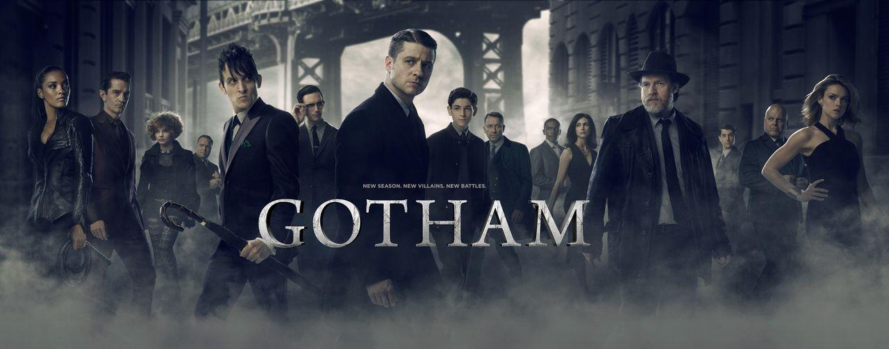 (2. Staffel) - Gotham: (v.l.n.r.) Tabitha (Jessica Lucas) und Theo Galavan (James Frain), Selina (Camren Bicondova), Butch (Drew Powell), Penguin (R... - Bildquelle: Warner Brothers