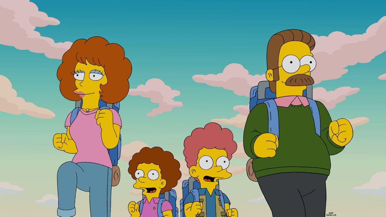 Homer erzählt Maggie eine Gute-Nacht-Geschichte und dabei geht es um einen Familienurlaub der Simpsons mit Ned (r.), Rod (2.v.r.), Todd (2.v.l.) und... - Bildquelle: 2015 Fox and its related entities.  All rights reserved.