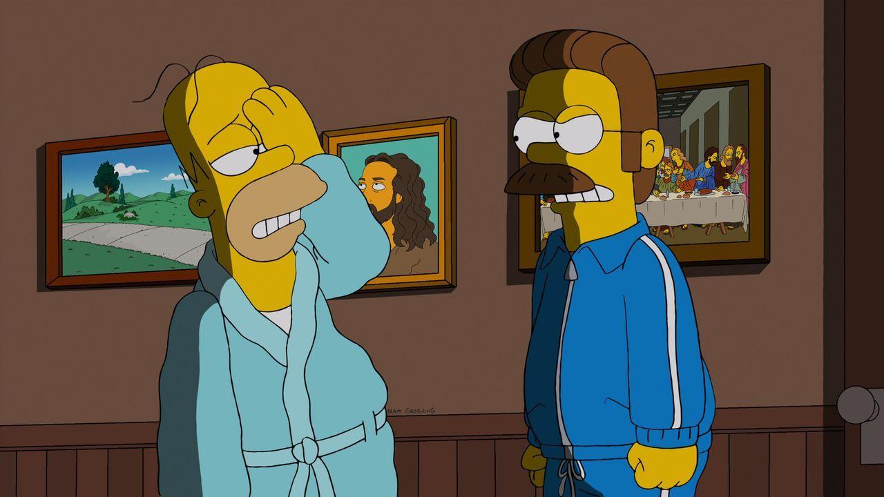 Homer (l.) lädt sich selbst zum Frühstück bei Ned Flanders (r.) ein und fängt an, sich mit seinen Eltern anzufreunden. Mehr noch, er stiftet sie zu... - Bildquelle: und TM Twentieth Century Fox Film Corporation - Alle Rechte vorbehalten