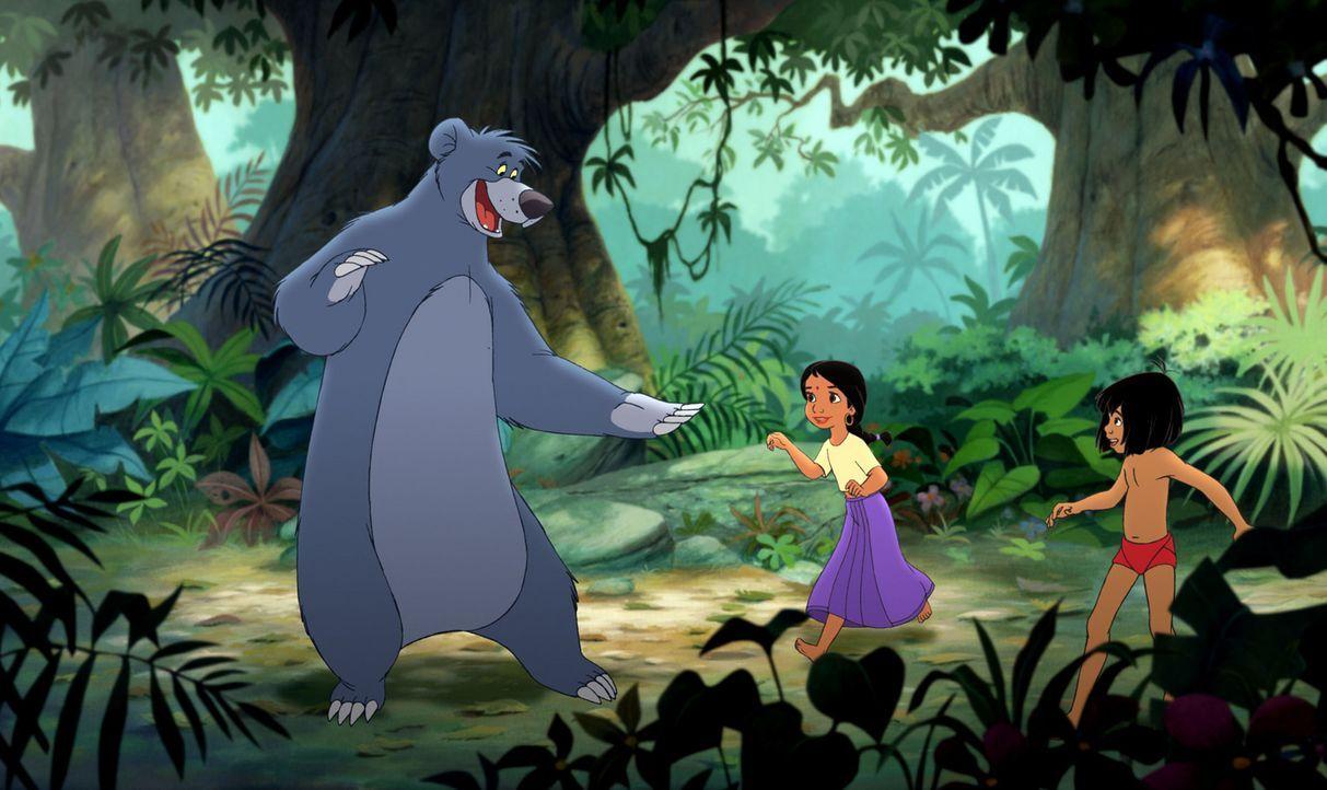 Gemeinsam haben Balu (l.), Mogli (r.) und Shanti (M.) im Dschungel viel Spaß ... - Bildquelle: Disney Enterprises, Inc. All rights reserved.
