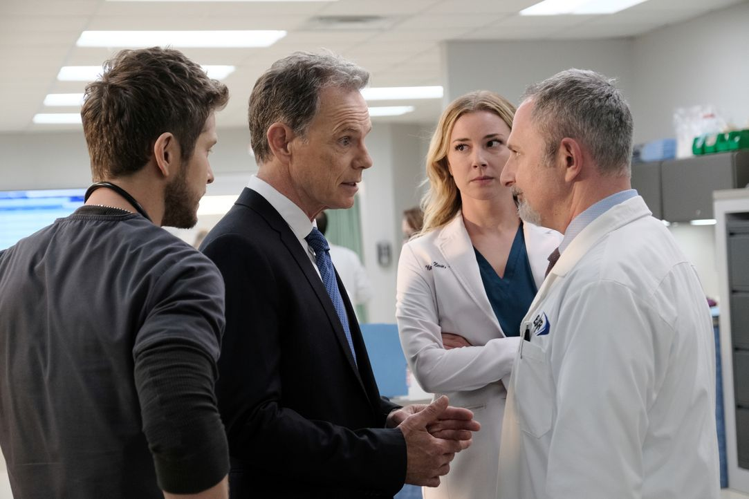 (v.l.n.r.) Dr. Conrad Hawkins (Matt Czuchry); Dr. Randolph Bell (Bruce Greenwood); Nicolette Nevin (Emily VanCamp); Dr. Stefan Kisic (Andy Milder) - Bildquelle: Guy D'Alema 2018-2019 Twentieth Century Fox Film Corporation. All rights reserved. / Guy D'Alema