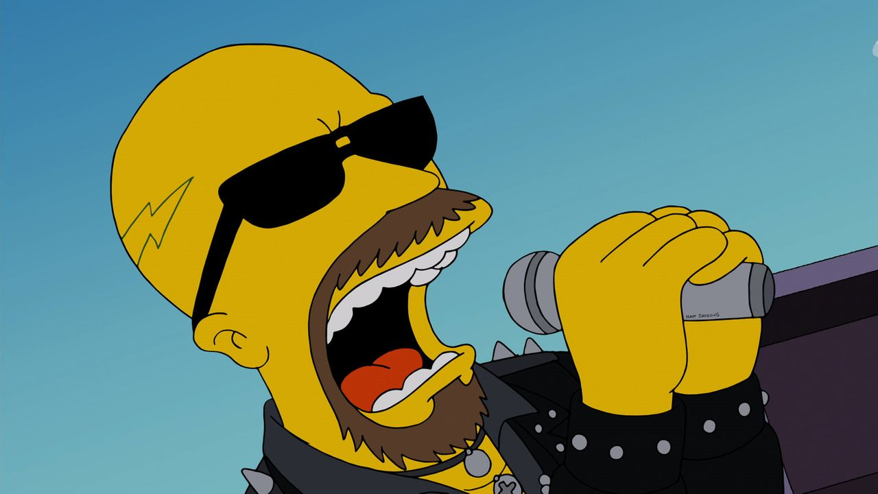 "Al Atkins, Sänger der Metal-Band ""Judas Priest"", ist mit seinem Song ""Breaking the Law"" ein echtes Role Model für Homer Simpson ... - Bildquelle: 2013 Twentieth Century Fox Film Corporation. All rights reserved."