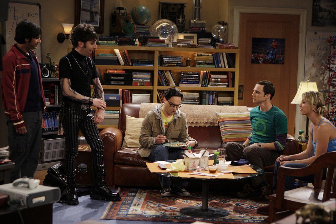 Leonard (Johnny Galecki, M.), Sheldon (Jim Parsons, 2.v.r.) und Penny (Kaley Cuoco, r.), sind schockiert, als Howard (Simon Helberg, 2.v.l.) und Raj... - Bildquelle: Warner Bros. Television