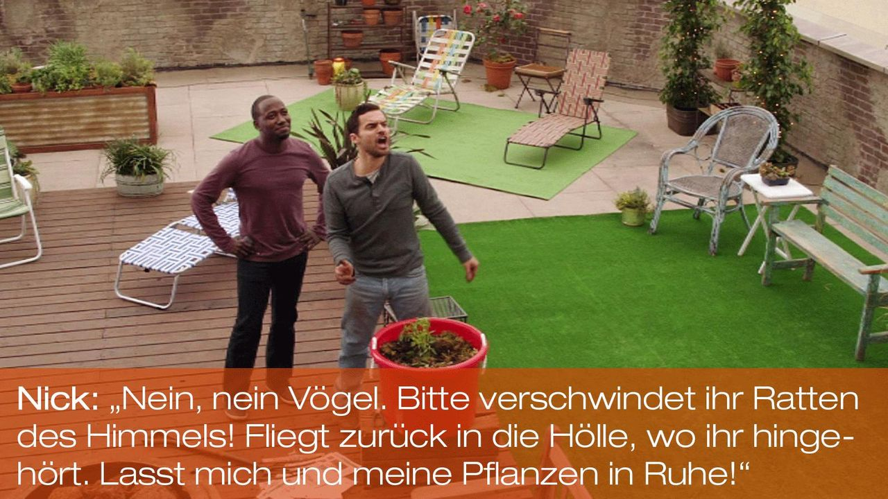 New Girl - Zitate - Staffel 1 Folge 22 - Winston (Larmorne Morris), Nick (Jake Johnson) - Bildquelle: 20th Century Fox
