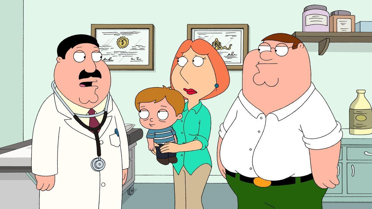 Als der kleine Scotty (2.v.l.) bei den Griffins ohnmächtig wird, bringen ihn Lois (2.v.r.) und Peter (l.) ins Krankenhaus. Dort erfahren sie Schreck... - Bildquelle: 2011 Twentieth Century Fox Film Corporation. All rights reserved.