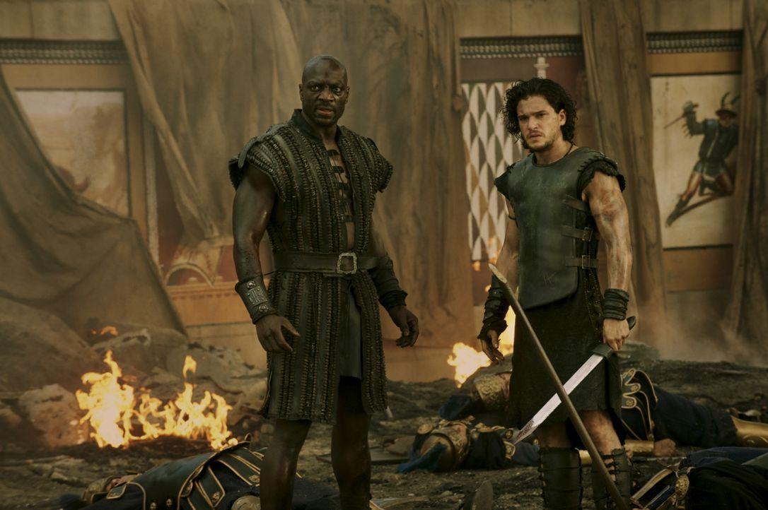 Während der Untergang von Pompeii eingeleitet wird, versuchen Milo (Kit Harington, r.) und Atticus (Adewale Akinnuoye-Agbaje, l.) alles, um Cassia a... - Bildquelle: 2014 Constantin Film Verleih GmbH/ Caitlin Cronenberg