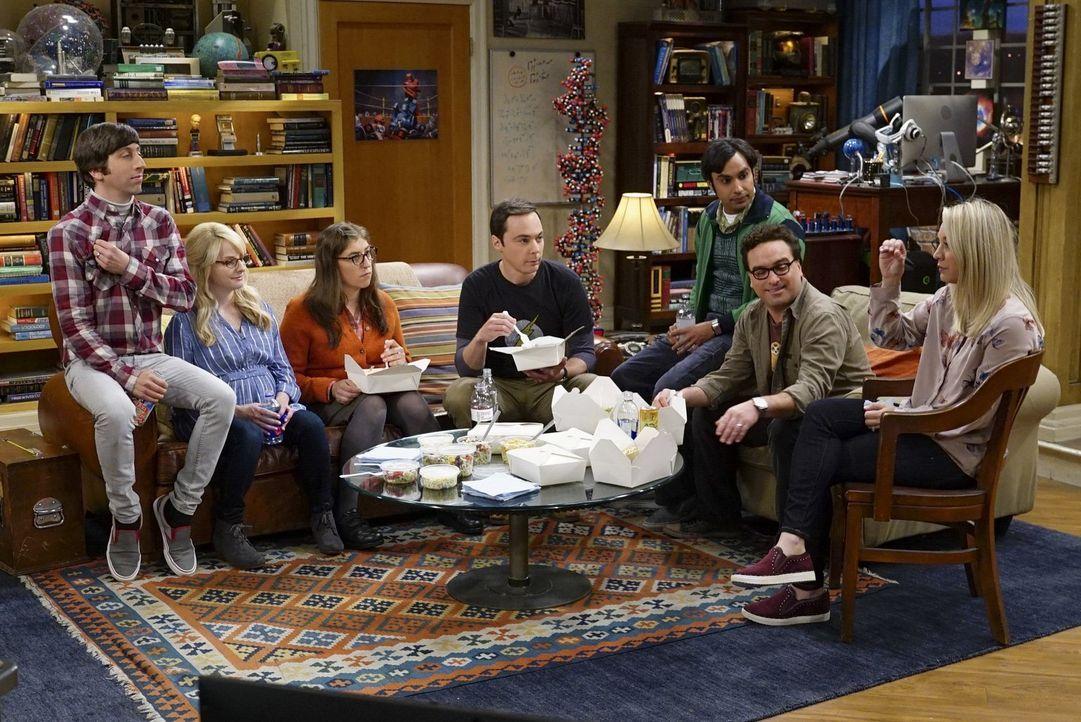 Haben alle mit ganz unterschiedlichen Projekten zu tun: (v.l.n.r.) Howard (Simon Helberg), Bernadette (Melissa Rauch), Amy (Mayim Bialik), Sheldon (... - Bildquelle: Warner Bros. Television