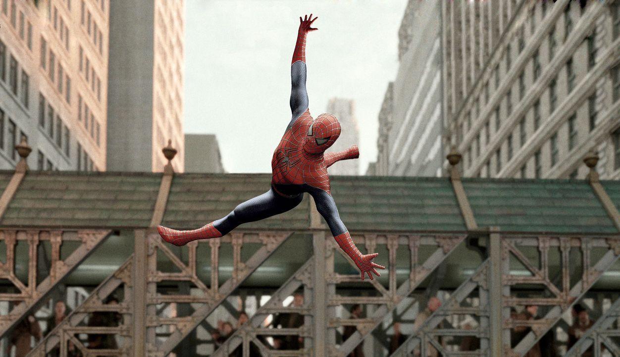 Lässt sich nicht so leicht unterkriegen: Spider-Man (Tobey Maguire) - Bildquelle: Sony Pictures Television International. All Rights Reserved.