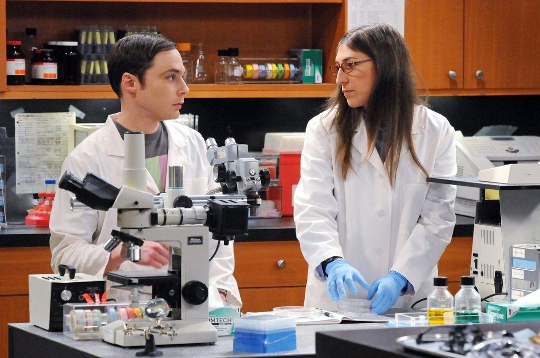 Der Universitätspräsident zwingt Sheldon (Jim Parsons, l.), endlich seinen Urlaub zu nehmen. Sheldon ist fassungslos, da er ohne Arbeit nichts mit s... - Bildquelle: Warner Bros. Television