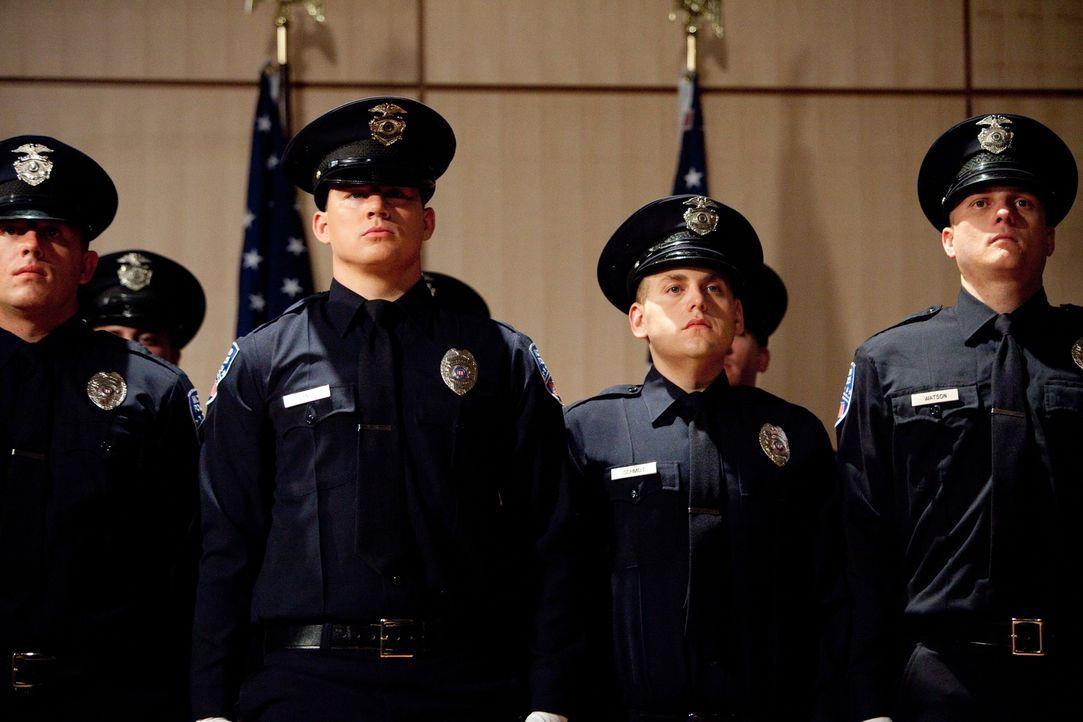 Eines Tages sollen die beiden Neu-Polizisten Schmidt (Jonah Hill, 2.v.r.) und Jenko (Channing Tatum, 2.v.l.) gefährliche Drogendealer an einer Highs... - Bildquelle: TM &  2014 Metro-Goldwyn-Mayer Studios Inc. All Rights Reserved.