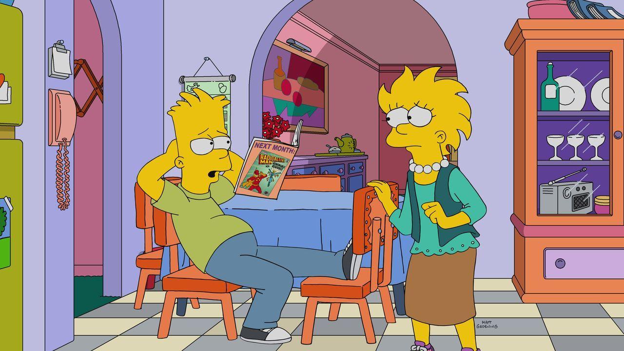 Lisa (r.) denkt über ihr bisheriges Leben nach und erinnert sich voller Trauer an die ganzen Geburtstage, die Bart (l.) und auch der Rest der Famili... - Bildquelle: 2017-2018 Fox and its related entities.  All rights reserved.