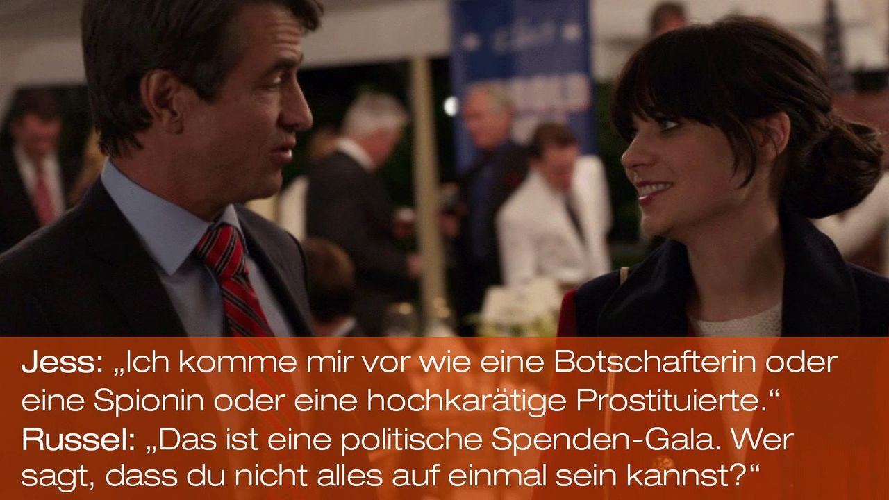 New Girl - Zitate - Staffel 1 Folge 20 - Russell (Dermot Mulroney), Jess (Zooey Deschanel) 1600 x 900 - Bildquelle: 20th Century Fox