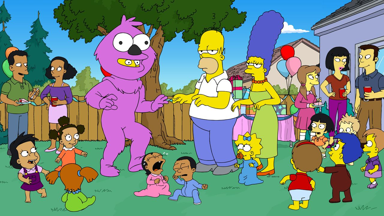 (Mitte v.l.n.r.) Homer; Maggie; Marge - Bildquelle: 2020 by Twentieth Century Fox Film Corporation.