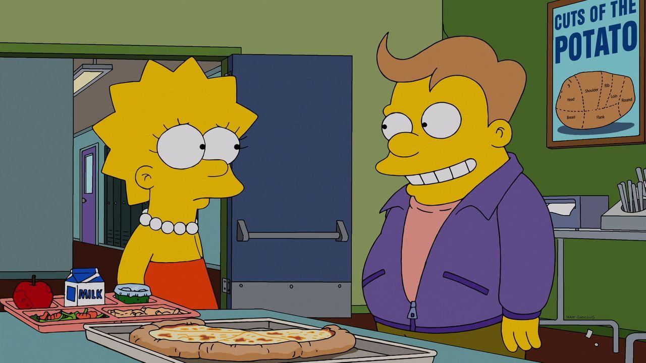 Lisas (l.) neuer Schwarm Lucas (r.) hat so spannende Interessen wie Wettkampf-Essen und erinnert auch sonst erschreckend an Homer - für Marge ein Gr... - Bildquelle: 2013 Twentieth Century Fox Film Corporation. All rights reserved.