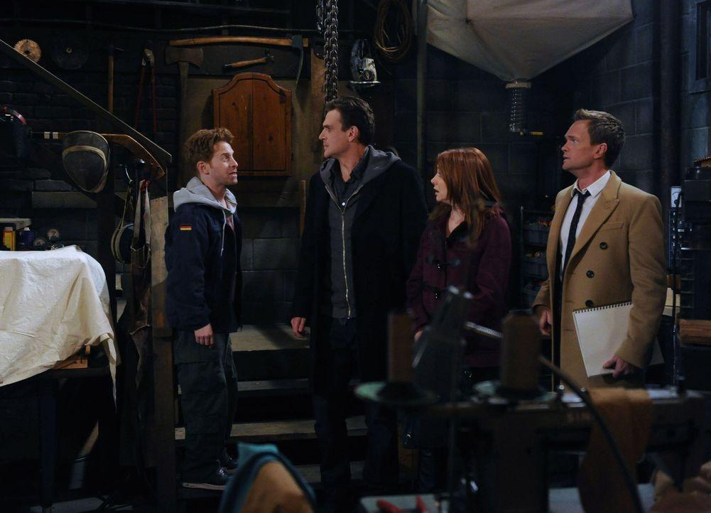 Eine ganz komische Situation wartet auf Barney (Neil Patrick Harris, r.), Marshall (Jason Segel, 2.v.l.) und Lily (Alyson Hannigan, 2.v.r.) und Dary... - Bildquelle: 2012 Twentieth Century Fox Film Corporation. All rights reserved.