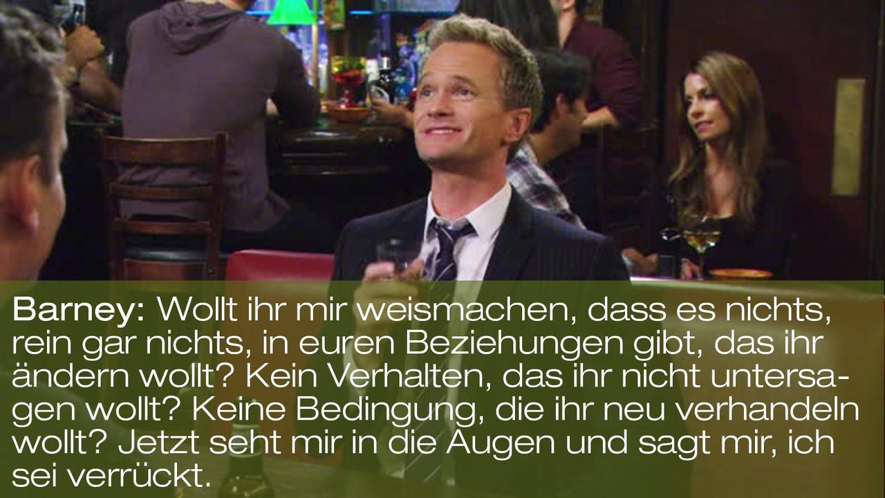 how-i-met-your-mother-zitat-quote-staffel-8-episode-2-prenup-klaus-zuhaus-8-barney-verrueckt-foxpng 1600 x 900 - Bildquelle: 20th Century Fox