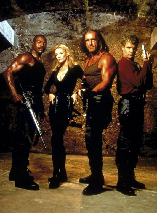 Mike (Hulk Hogan, M.), Roy Brown (Carl Weathers, l.), Hunter Wiley (Shannon Tweed, M.) und Andy Powers (Martin Kove, r.) erhalten den Auftrag, die s... - Bildquelle: Alliance Entertainment