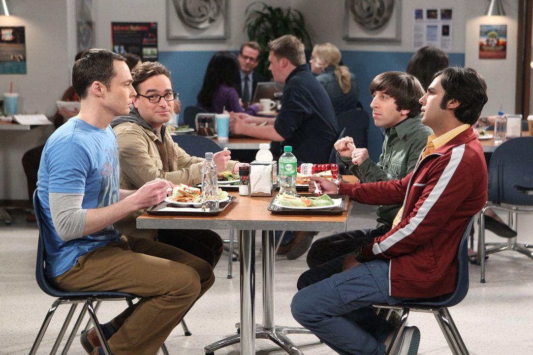 Während Sheldon (Jim Parsons, l.) seine schlechte Laune an Amy auslässt, muss Leonard (Johnny Galecki, 2.v.l.) mit Penny klarkommen. Howard (Simon H... - Bildquelle: Warner Bros. Television