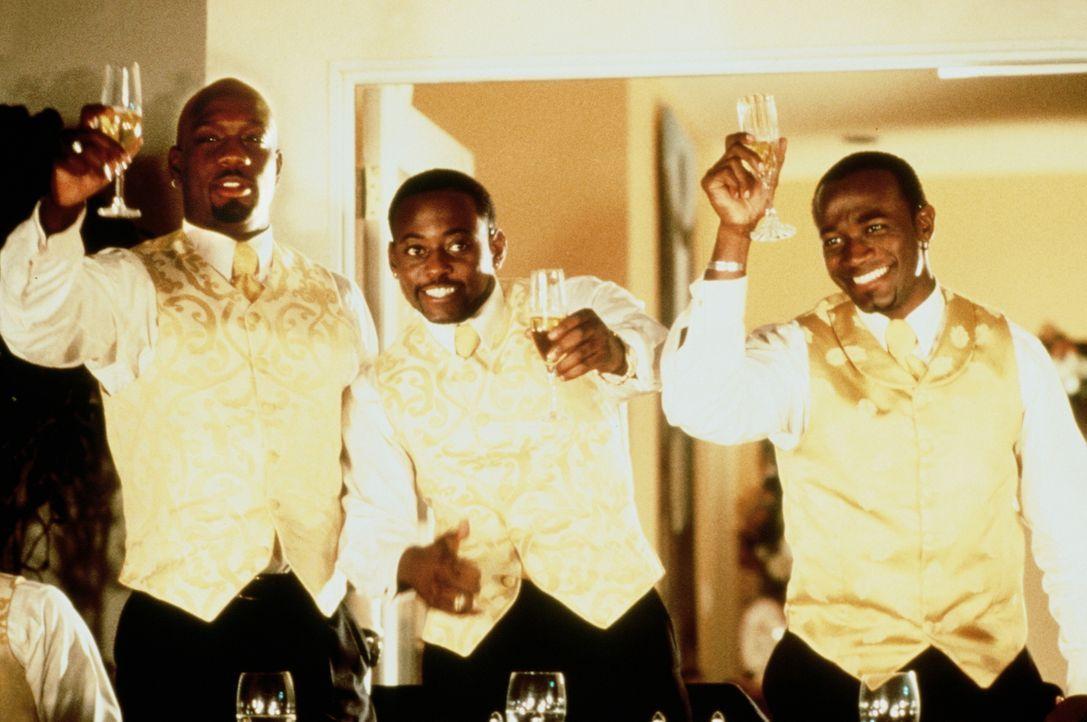 Auf die alten Zeiten: Slim (Richard T. Jones, l.), Mike (Omar Epps, M.) und Bräutigam Roland (Taye Diggs, r.) ... - Bildquelle: Paramount Pictures
