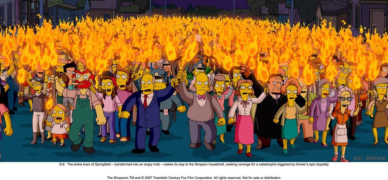Die Bewohner von Springfield sind außer sich vor Wut und begeben sich zum Haus der Simpsons, um Homer für all seine Chaos auslösenden Taten zu be... - Bildquelle: 2007 Twentieth Century Fox Film Corporation