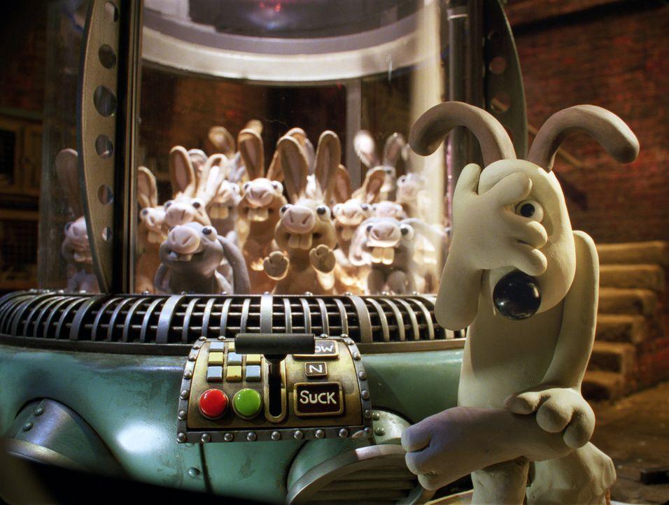 Per Gedankenmanipulation soll den Kaninchen der Appetit auf Karotten und Gemüse ausgetrieben werden. Gromit steht dem Experiment noch etwas skeptis... - Bildquelle: Telepool GmbH