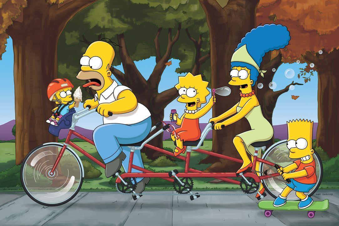(22. Staffel) - Eine etwas ungewöhnliche Familie: Maggie (l.), Marge (2.v.r.), Homer (2.v.l.), Bart (r.) und Lisa Simpson (M.) ... - Bildquelle: und TM Twentieth Century Fox Film Corporation - Alle Rechte vorbehalten