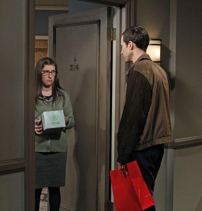 """Durch eine neue Ausgabe von """"Spaß mit Flaggen"""" findet sich Sheldon (Jim Parsons, r.) mitten in einer Auseinandersetzung zwischen Amy (Mayim Bialik,... - Bildquelle: Warner Bros. Television"""