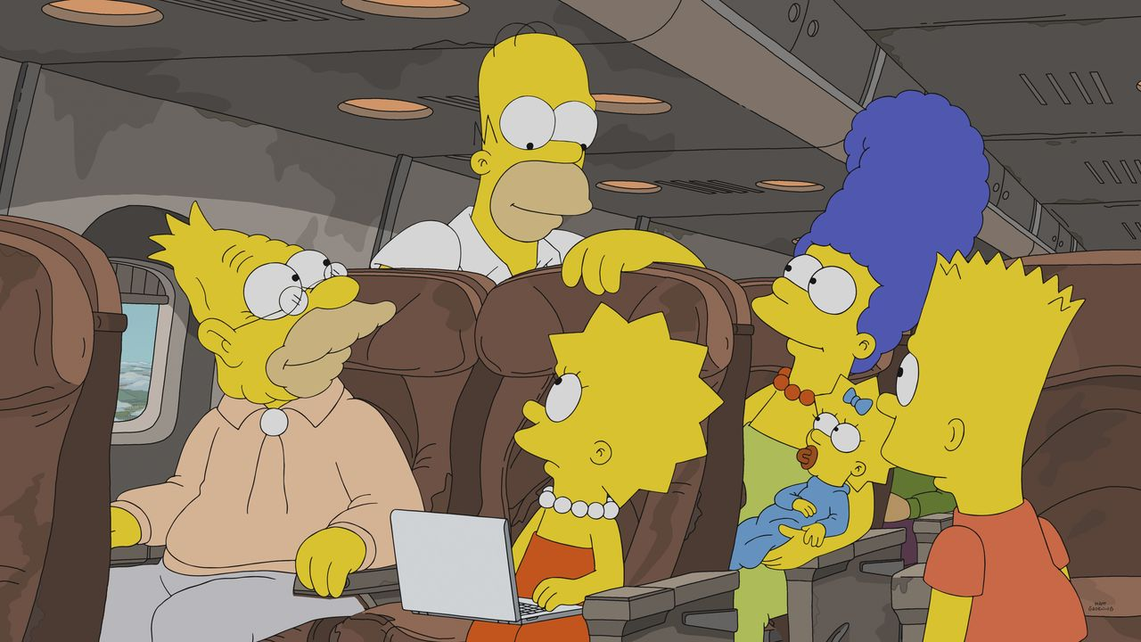 (v.l.n.r.) Grampa; Homer; Lisa; Marge; Maggie; Bart - Bildquelle: 2018-2019 Fox and its related entities. All rights reserved.