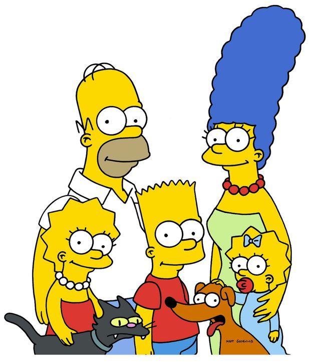 (13. Staffel) - Gemeinsam ist die Familie Simpsons unschlagbar: (v.l.n.r.) Lisa, Kater Schneeball, Homer, Bart, Hund Knecht Ruprecht, Marge und Magg... - Bildquelle: und TM Twentieth Century Fox Film Corporation - Alle Rechte vorbehalten