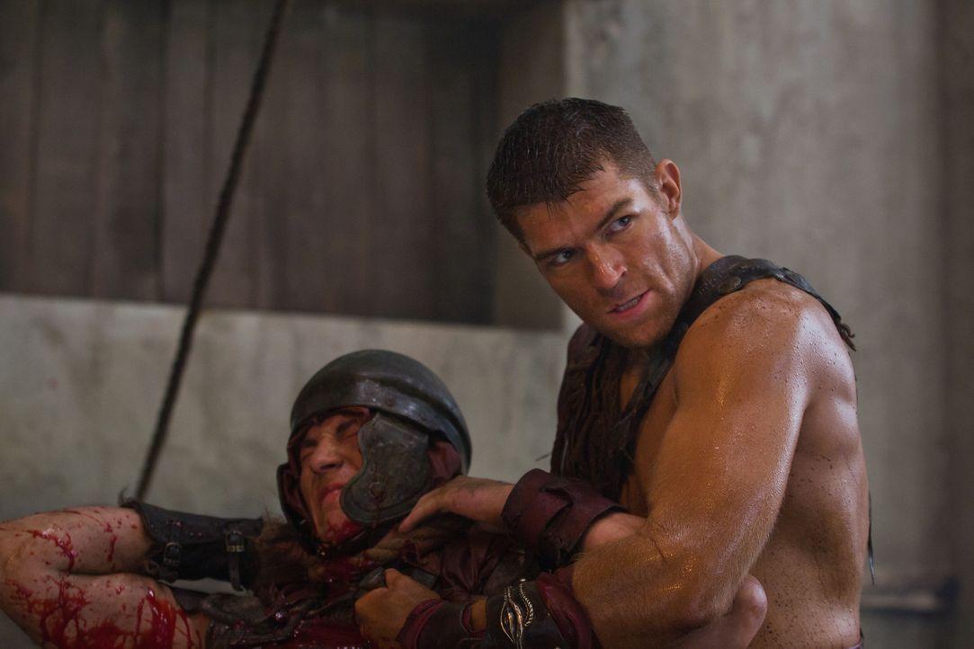 Spartacus (Liam McIntyre, r.) überfällt mit seinen Männern in Neapolis ein Schiff voller cheruskischer Sklaven und befreit sie. Doch schon bald wird... - Bildquelle: 2011 Starz Entertainment, LLC. All rights reserved.