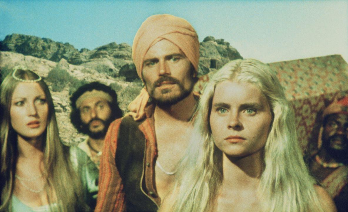 Sindbad (Patrick Wayne, 2.v.r.), Hassan (Nadim Sawalha, 2.v.l.) und Prinzessin Farah (Jane Seymour l.) beobachten verwundert, wie Diana (Taryn Power... - Bildquelle: Columbia Pictures